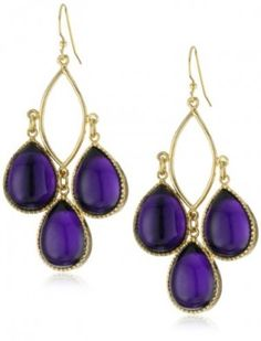 Lisa Stewart Open Marque Dangle Amethyst Stone Earrings. They have a good weight to them and definitely feel like higher quality earrings than what I usually buy (you know, the cheap stuff at Target or Kohl's). The stones, while dark purple, are extremely bright and shiny and the color of the gold compliments the stones beautifully. Overall I am very happy with these earrings.