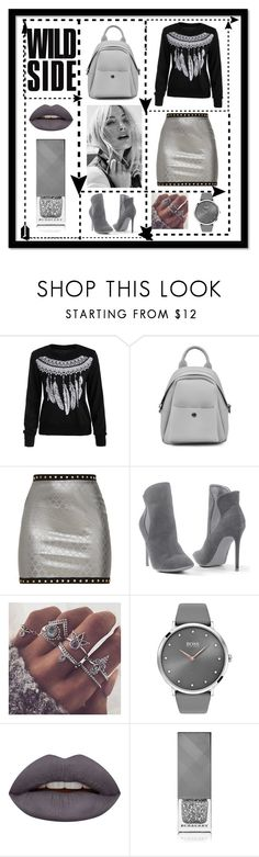 """Grey scale"" by stylishbysamantha ❤ liked on Polyvore featuring Venus, BOSS Black, Huda Beauty and Burberry"