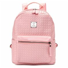Women Weave Backpack Rivet Satchel PU Leather School Bags Creative... ($17) ❤ liked on Polyvore featuring bags, backpacks, backpack satchel bags, zip bag, pink bag, pink satchel bag and zipper bag