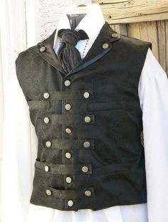 Items similar to Steampunk Vest Brocade Airship Captain Waistcoat LARP Victorian Gentleman on Etsy Viktorianischer Steampunk, Costume Steampunk, Steampunk Wedding, Steampunk Clothing, Steampunk Fashion, Gothic Fashion, Mens Fashion, Style Fashion, Fashion Vest