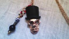 "24"" Golden Skull with Tophat Necklace / Pendant & Charms  #Zenfinitydesigns #Pendant"