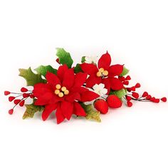 "Perfect for any occasion, these gorgeous arrangement of Poinsettia sugarflowers are readymade by hand from gumpaste. Each spray is bound by bendable wires that make for easy positioning and application on cakes. Gumpaste sprays offer a way of decorating cakes hassle free for both professional and amateur decorators. Add a realistic appearance and make your cakes blossom into beautiful creations by using Gumpaste Sprays. Includes: 3 Sprays | Approx Size: 4"" x 7"" 