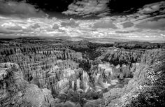 """riccardo_mantero: """"BWryce - http://ift.tt/1fLpmLk A Black And White shot over the Bryce Canyon I preferred to render this one in black and white as an homage to the style of the great Ansel Adams and underline the unbelievable and fabulous contrasts of the #sky and the illuminated spires. The definition of the #image is insane and it is possible to count every single stone of the #Bryce Canyon. #travel #traveling #vacation #visiting #instatravel #instago #instagood #trip #holiday…"""