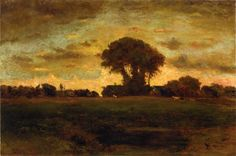 George Inness: 'Sunset on a Meadow'