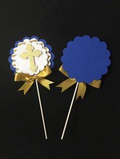 Baptism centerpieces stick/ Royal blue and Gold centerpieces Boy Baptism Centerpieces, Communion Centerpieces, Gold Centerpieces, Baptism Decorations, Baby Baptism, Baptism Party, Christening, First Birthday Parties, First Birthdays