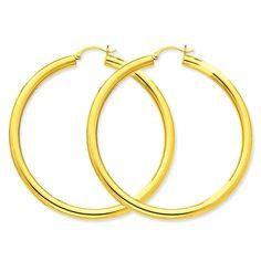 14K Yellow Gold 2.5mm Rd Fancy Classic Half Hoop Stud Earring
