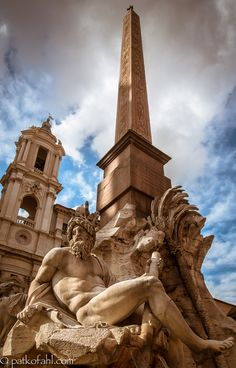 "BERNINI'S Masterpiece: The Fontana dei Quattro Fiumi or ""Fountain of the Four Rivers"" is a fountain in Rome, Italy, located in the urban square of the Piazza Navona. It was designed in 1651 by Gian Lorenzo Bernini for Pope Innocent X. -Wikipedia~ Photo by Pat Kofahl on 500px"