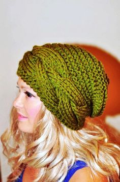 Slouchy Hat Slouch Beanie Cable Hand Knit Winter  Women Teen CHOOSE COLOR Olive Green Forest Autumn Fall Chunky Gift under 50 - LoveItSoMuch.com
