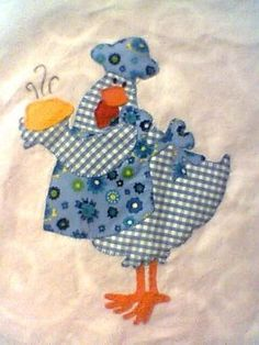 Gallina cocinera. Applique Templates, Applique Patterns, Applique Quilts, Applique Designs, Embroidery Applique, Quilt Patterns, Machine Applique, Chicken Crafts, Chicken Art