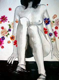 SALE - Steep - Floral Tattoo Collaged Drawing - Delicate charcoal and ink artwork
