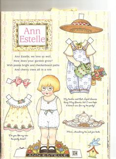 Mary Engelbreit's Home Companion original paper doll sheet - Ann Estelle br br 'Ann Estelle we love so well br How does your garden grow br With posies bright and Mary Engelbreit, Paper Toys, Paper Crafts, Diy Crafts, Georgia, Vintage Paper Dolls, Doll Toys, Tea Party, Banner