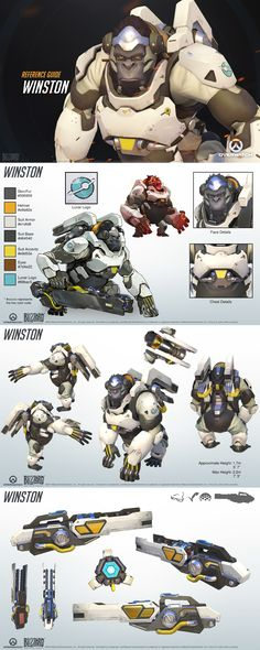 Winston- the man who provides the intro Character Sheet, Character Modeling, Game Character, Character Concept, Character Reference, Game Design, Overwatch Winston, Art Et Design, 8bit Art