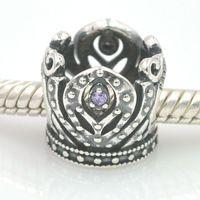 Originais 925 grânulos de prata Anna Crown Bead charme com Crystal Stone serve encantos Pandora pulseira DIY fazer jóias