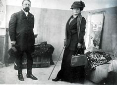 """Matisse with his wife Amélie Parayre  Matisse was so committed to his art that he extended a warning to his fiancée, Amélie: """"I love you dearly, mademoiselle; but I shall always love painting more.""""  src"""
