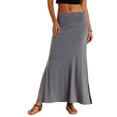 Double Side Slit Maxi Skirt: Charlotte Russe