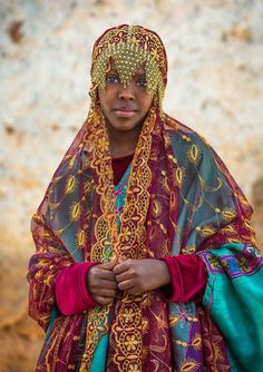 Harari girl back from a ceremony, Ethiopia #people