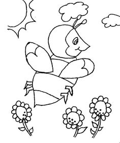 Bumblebee In The Open Field Of Flowers Coloring Page Online Coloring Pages, Open Field, Have Some Fun, Coloring Sheets, Colorful Flowers, Kids Playing, Embroidery Designs, Snoopy, Bumblebee Bumblebee
