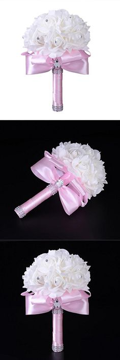 Mandystore Crystal Roses Pearl Wedding Bouquet Bridal Artificial Silk Flowers (Pink)