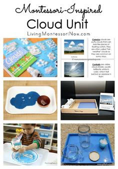 Roundup of Montessori-inspired cloud printables and activities for a variety of ages; perfect for homeschools or classrooms.
