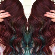 Burgundy hair color with teal peek-a-boos