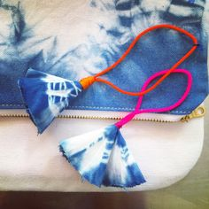 """Traditional Japanese dyeing method """"Shibori"""" and natural Indigo are used to create our summer clutch bag. All Natural Indigo Dye 100% Cotton Duck & Poly Cotton Lining Available in: One size Ships from"""