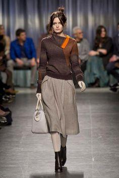 Tan Circular Skirt, Brown Cowl Neck Sweater, Sheer Stockings & Booties