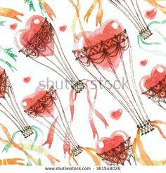 Hot Air Balloons Watercolor Pattern Fotos, imagens e fotografias Stock   Shutterstock