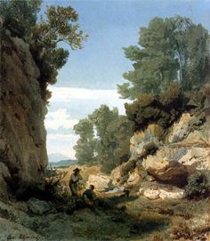 Oswald Achenbach  - Une gorge avec les voyageurs en Italie  - 1850♥♥♥