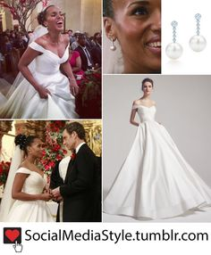 Buy Kerry Washington/Olivia Pope's Diamond and Pearl Earrings and Off-the-Shoulder Wedding Gown from Scandal, here!