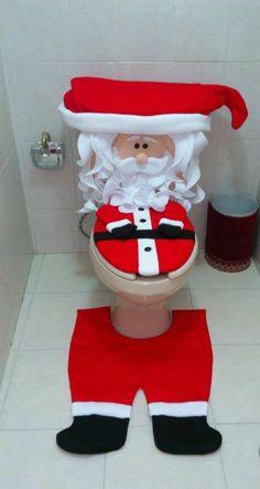 Juego de baño navideño Santa. Pedidos al 55 3882.0030