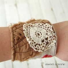 Scrappy cuff with old crocheted lace. $20