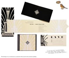 Amazing Art Deco invitation suite by Gala Design.