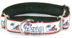 New England Patriots martingale dog collar, NFL martingale collars - Trendy Hounds