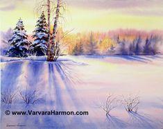 Birch Trees at Crawford Notch, Original watercolor painting by Varvara Harmon