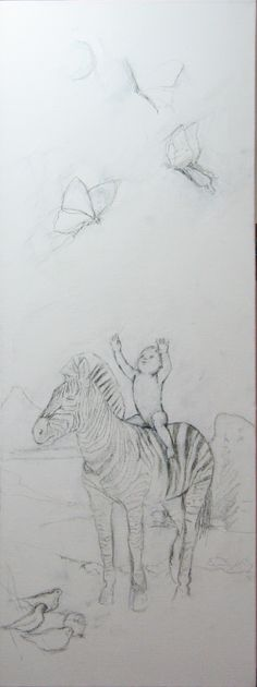 Latest painting drawn out onto canvas with charcoal. You can see how it progresses on my blog -  #zebra #baby #arctic