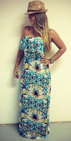 Vestido longo babados Estampa floral azul