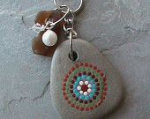 Hand Painted Beach Stone and Beach Glass Key Chain