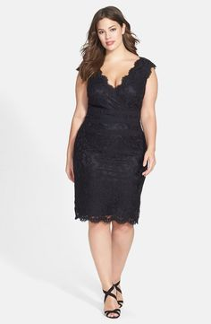 Embroidered Lace Sheath Dress (Plus Size)