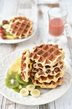 #gofry Waffel Vegan, Polish Recipes, Coffee Time, Food And Drink, Sweets, Cookies, Baking, Breakfast, Cake