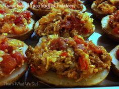 Twice Baked Taco Stuffed Potatoes - Freezer Meal College Cooking, Freezer Cooking, Gluten Free Recipes, Beef Recipes, Freezer Recipes, Stuffed Potatoes, Frozen Meals, Some Recipe, Baked Potato