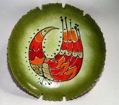 Curtis Jere Signed Mid Century Modern Enamel Large Dish Abstract Bird | eBay