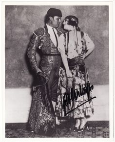 POLA NEGRI SIGNED PHOTO WITH RUDOLPH VALENTINO 8X10 BLACK&WHITE SPANISH COSTUME