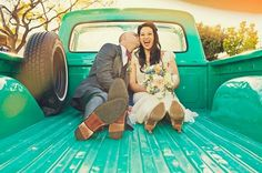 cute engagement photo, love the old truck
