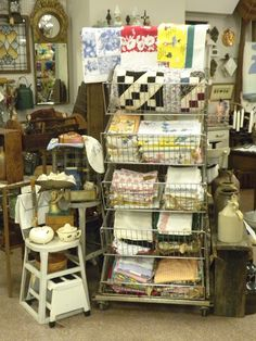 Antique Store Display Ideas | ... display rack of vintage casual linens, ... | Antique Shop Ide