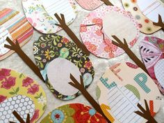 """Handmade scrapbook paper tree """"forest"""" could make REALLY cute art for a nursery Crafts For Kids, Arts And Crafts, Diy Crafts, Cute Banners, Scrapbook Embellishments, Scrapbook Cards, Scrapbook Photos, Paper Crafting, Cardmaking"""