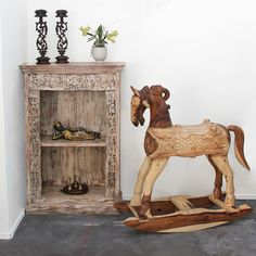 Restored Teak Cabinet / book shelf and iron candle holders from India. Rocking horse made from dredged monkey wood in Northern Thailand. Support ethical and sustainable trade. Rustic Furniture, Vintage Furniture, Northern Thailand, Indoor Outdoor Living, Interior And Exterior, Teak, Monkey, Bookends, Restoration