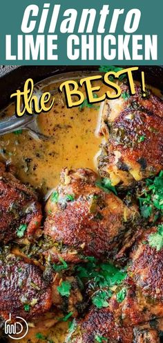 This bold, saucy cilantro lime chicken is the BEST! Flavor-packed, comforting, and so easy to make. You can make it in the oven or in your slow cooker too. Grab the recipe today. Lime Chicken Thighs Recipe, Lime Chicken Recipes, Cilantro Lime Chicken, Chicken Thigh Recipes, Cauliflower Recipes, Cauliflower Rice, Mediterranean Diet Meal Plan, Mediterranean Dishes, Great Recipes