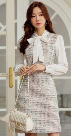 Korean Fashion Dress, Korean Dress, Kpop Fashion Outfits, Fashion Dresses, Korea Fashion, Japan Fashion, Classy Outfits, Pretty Outfits, Stylish Outfits