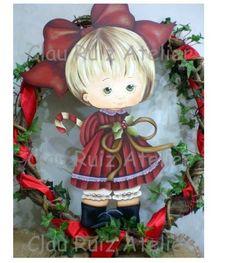 Menina de Natal Maria Clara - Kit em MDF