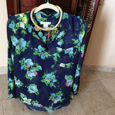Liz Claiborne Blouse Sheer blouse, navy blue with greendeatil 100% polyester. Great for work or play. Liz Claiborne Tops Blouses